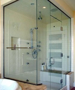 steam glass shower doors in Eola